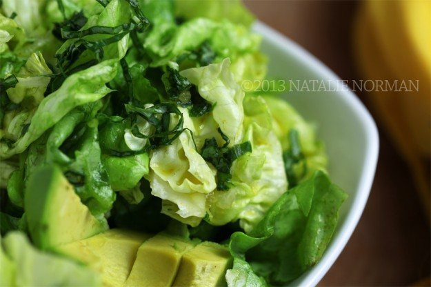 Butter lettuce salad with curry basil dressing