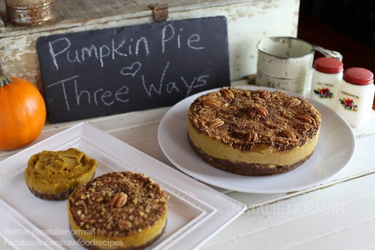Raw Vegan Pumpkin Pie Cheesecake, Pumpkin Pie, and Mini Tartlet