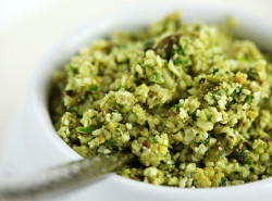 Raw Vegan Coconut Curry Cauliflower Rice with Pistachio