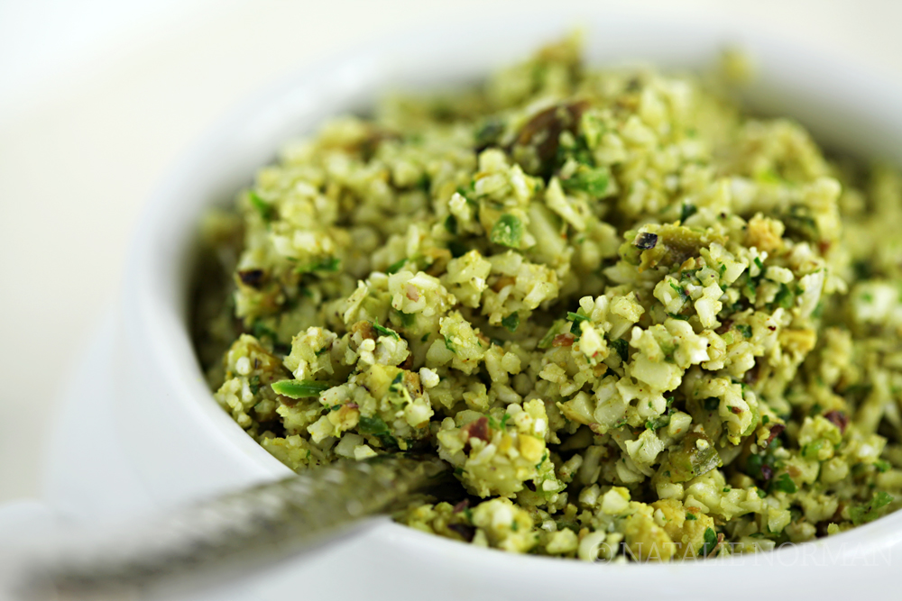 Raw Vegan Coconut Curry Cauliflower Rice with Pistachio - Natalie ...