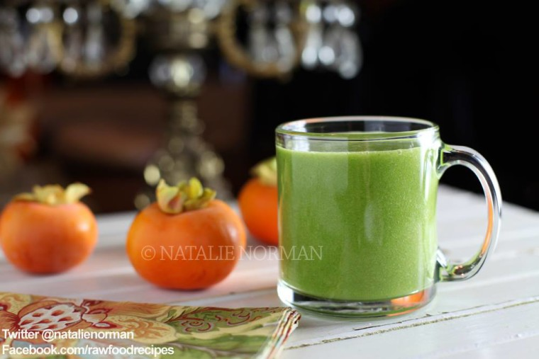 Sweet Persimmon Raw Food Green Smoothie Recipe