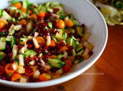 Pomegranate Salad with Zucchini and Apples