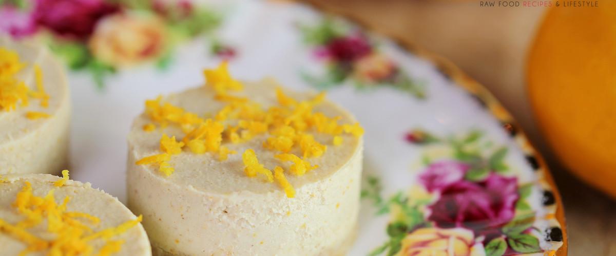 Raw Vegan Mini White Chocolate Lemon Cheesecakes