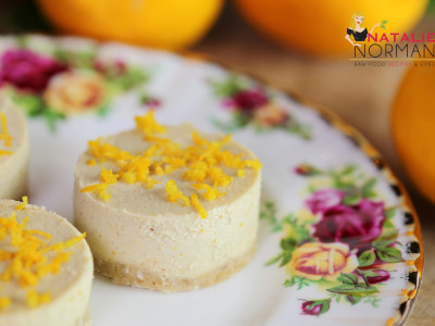 Raw Vegan Mini White Chocolate Lemon Cheesecakes