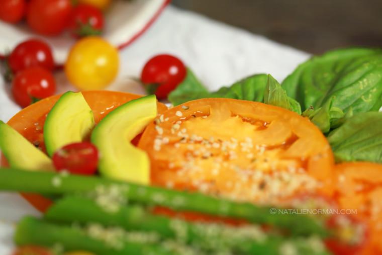 Natalie Norman Raw Vegan Recipes Raw Fusion Asparagus Avocado Tomato