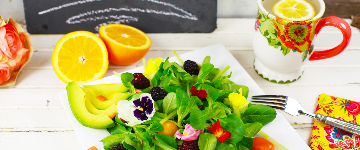 Edible Flower Salad by Raw Food Teacher and Vegan Expert Natalie Norman