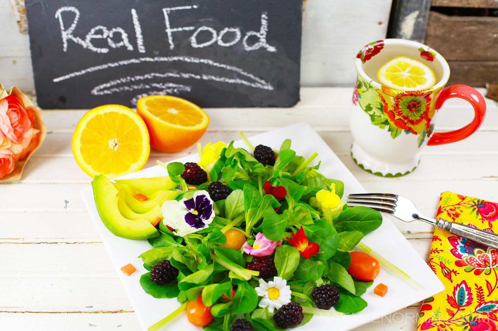Edible Flower Salad with Mache and Blackberries - Natalie ...