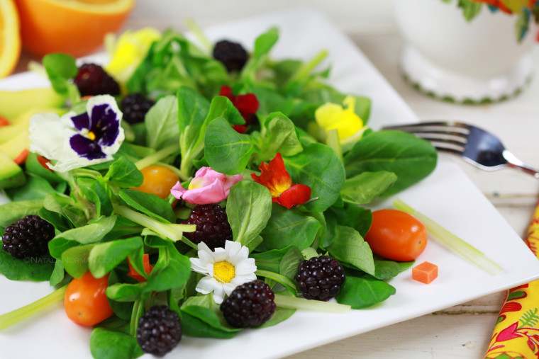 Edible Flower Salad with Mache and Blackberries