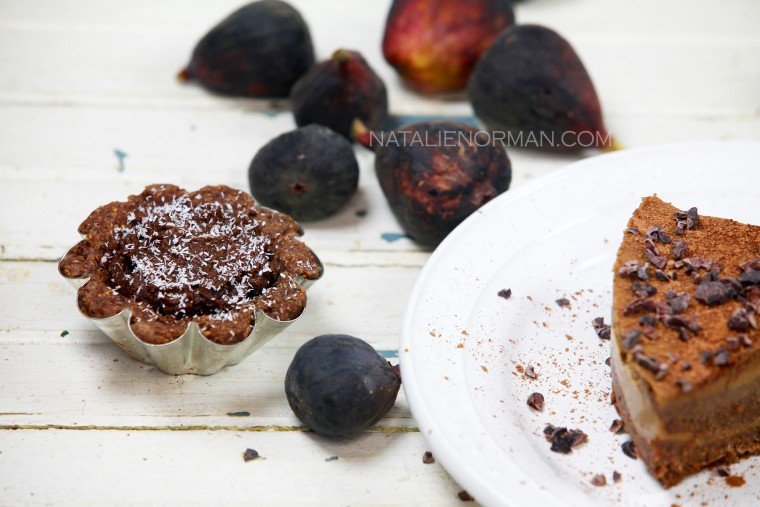 Raw Vegan Mini Chocolate Fig Tart & Apricot Layered Tart