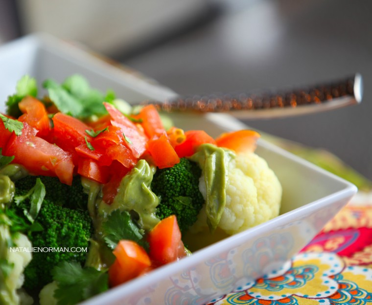 Broccoli Cauliflower with Avocado Sauce