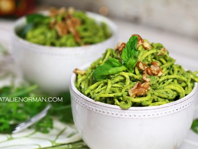 raw vegan walnut arugula basil pesto